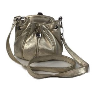 B. Makowsky Metallic Gold Satchel Crossbody